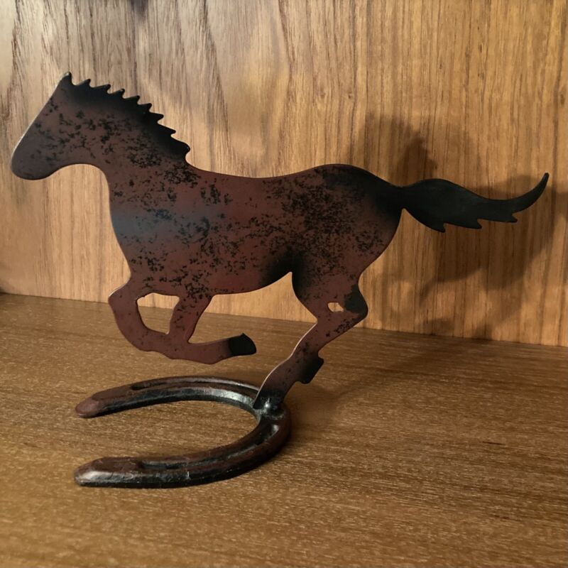 Metal Horse Silhouette Sculpture on O Pony Diamond Horseshoe Stand Western Art