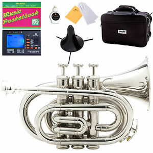 Mendini Nickel Plated Mini / Pocket Trumpet +Tuner+Stand+Case