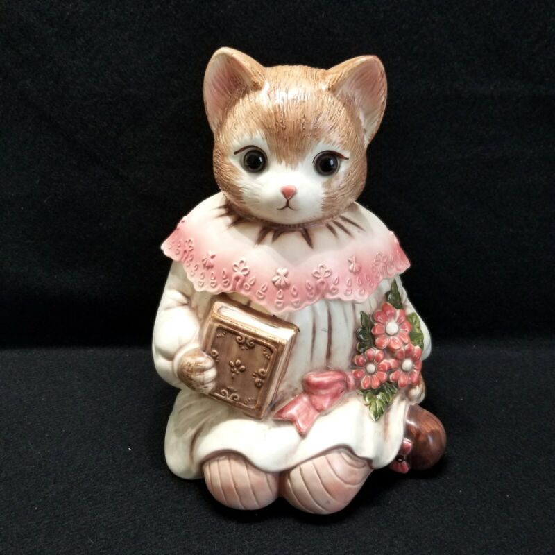 Emily Cat Cookie Jar Vintage Kitty With Book Hand Painted Ceramic