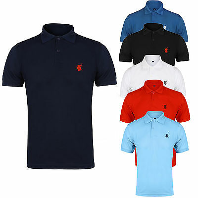 NEW MENS POLO SHIRT TOP SHORT SLEEVE PIQUE DESIGNER PLAIN T-SHIRT TEE HORSE -