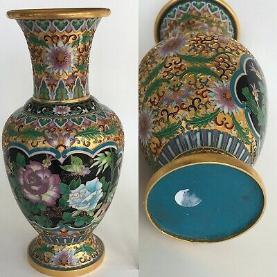 Asian Porcelain Vase 10 Tall Butterfly Floral Hand Decorated Gold Gilt Vintage