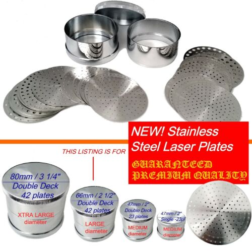 "PREMIUM Diamond Sieves LARGE 66mm / 2.5"" 42 Steel Plates Laser holes PIERRES"