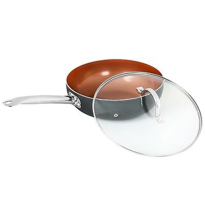 "CONCORD 11"" Copper Ceramic Nonstick Wok Frying Pan Cookware Induction Compatible"
