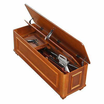 Hidden Gun Rifle Safe Wood Storage Bench Hope Chest Concealed Lock Trunk New