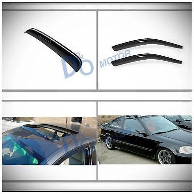 Outside Mount Rain Guards Visor 3mm Sun roof 3pc For Honda Civic Hatchback 96-00