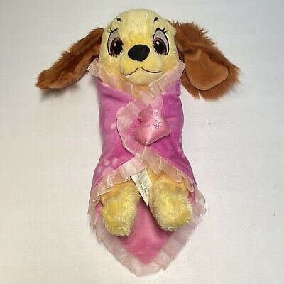 """Disney Lady And the Tramp Blanket Plush Lovey Dog Babies Pink Soft 12"""" Long"""
