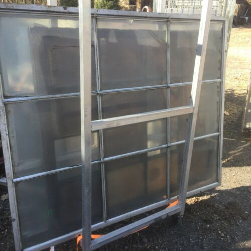 vtg Industrial Window steampunk chickenwire glass metal mullion NYC delivery $75
