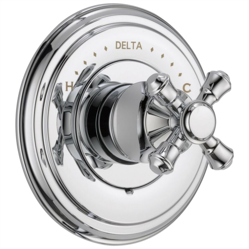 Delta Cassidy Chrome Shower Faucet Control with Cross Handle and Valve D1598V