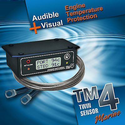 BOAT ENGINE TEMPERATURE ALARM suits twin engine boats - model TM4-Twin-Marine