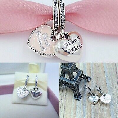 Authentic S925 Sterling Silver Soft Pink Best Friends Charm Always There CZ