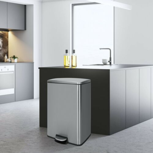 Innovaze 13 gal /50 L Stylish Rectangular Stainless Steel Trash Can Kitchen