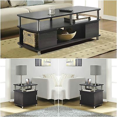 3 Piece Dark Brown Living Room Coffee End Table Set Home Accent Furniture Den