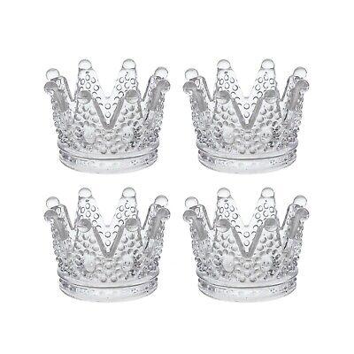 """Mega Crafts - 3"""" Crown Glassware Candle Holder - Clear, Set of 4"""