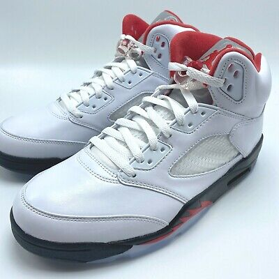 Nike Air Jordan 5 Retro Men's Shoes True White/Fire Red-Black DA1911-102 sz 8-12