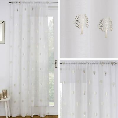 Birch Tree Curtains (Gold Voile Curtain Panels Cream Metallic Trees Birch Slot Top Rod Pocket)