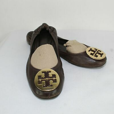 Tory Burch Ladies Brown Leather Ballet Flats Size US 11