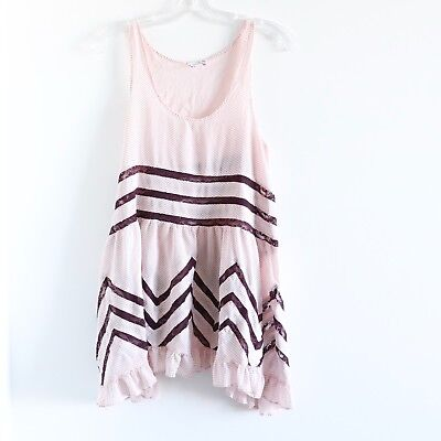 Intimately Free People Trapeze Pink Voile Lace Slip Dress S small tunic top (Voile Tunic Dress)