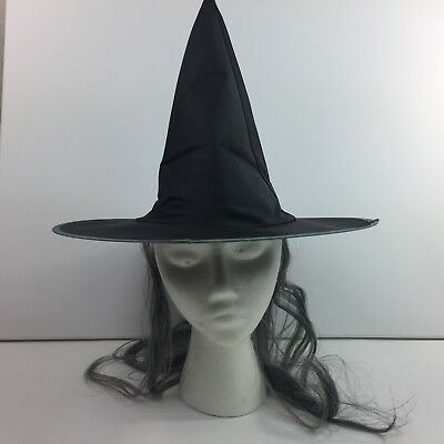 Halloween Adult Black Witch Hat with Gray Hair Witches Costume ](Halloween Hats With Hair)