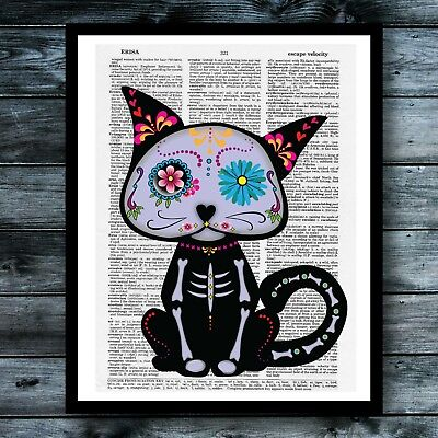 Vintage Dictionary Art Poster Sugar Skull Animal Cat Cute Room Wall Print Decor Animal Art Vintage Animal
