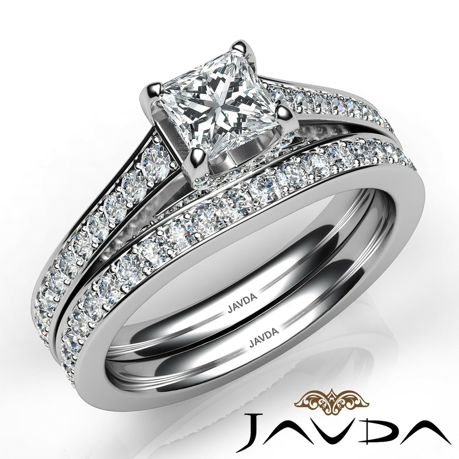 2.05ct Accent Bridge Pave Bridal Princess Diamond Engagement Ring GIA F-VS2 Gold 1