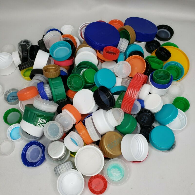 Lot 200+ Plastic Bottle Caps Recycled Crafting Mixed Repurpose Lids Tops Teacher