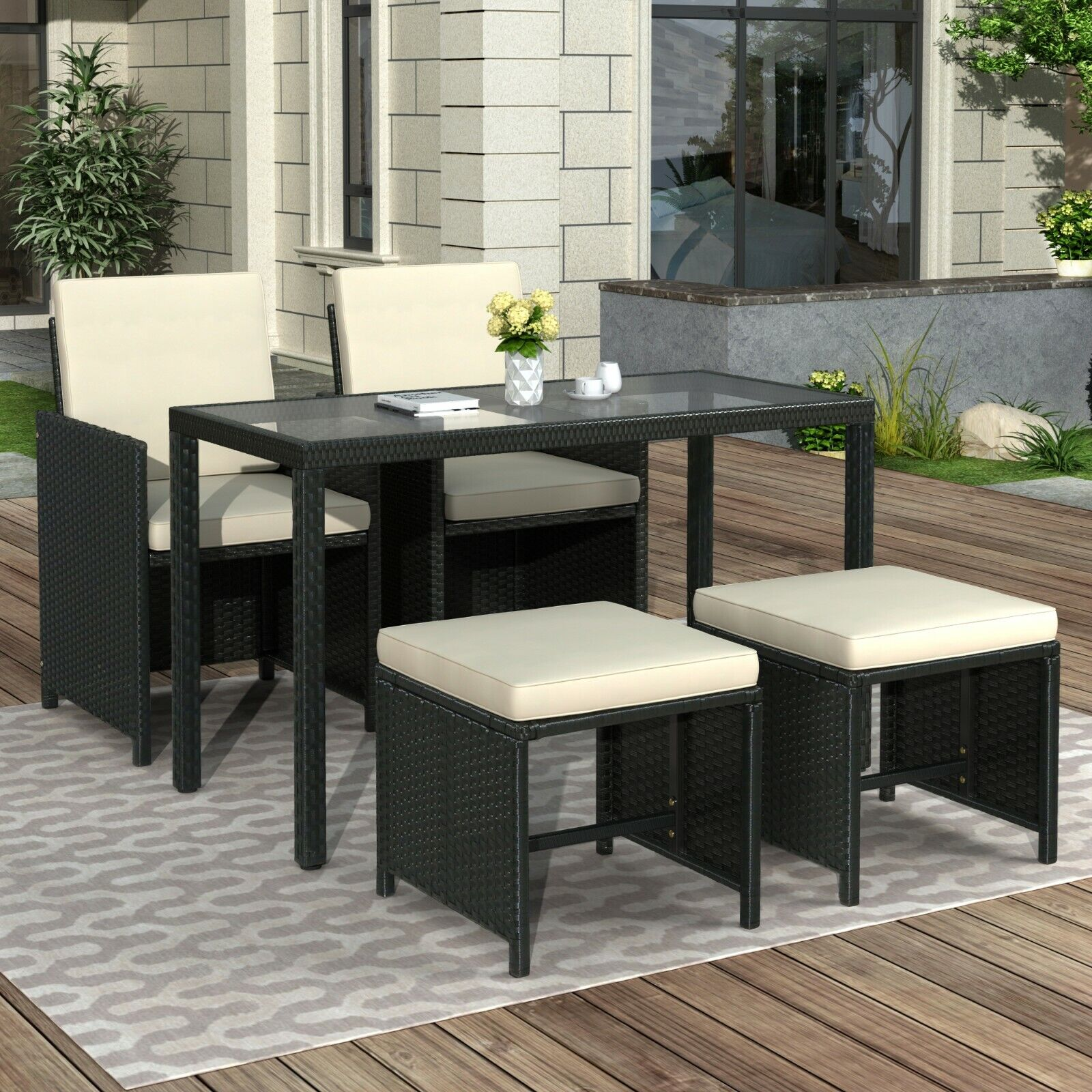 Outdoor Patio Garden Furniture Set Rattan Glass Table Stool