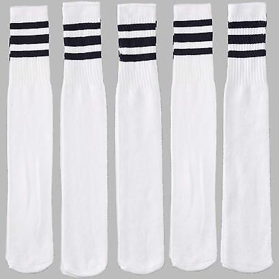 12 Pairs 1 Dozen White Tube Socks Black Striped Retro Old School Throwback