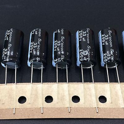 10pcs 33uf 200v Suscon Mk 10x20mm 200v33uf Aluminum Electrolytic Capacitor