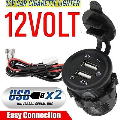 12V/24 Dual USB Port Car Cigarette Lighter Socket Splitter Charger Power Adapter