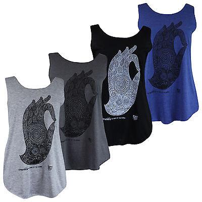 Womens Ladies Buddha Hand Thai Mandala Om Vest Tank Top T-Shirt Summer Gym Yoga