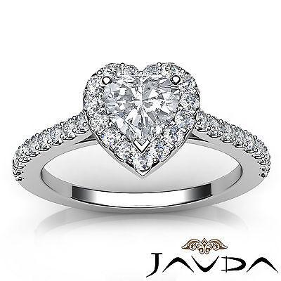 Halo U Cut Prong Set Heart Shape Diamond Engagement Ring GIA Certified F VS2 1Ct 3