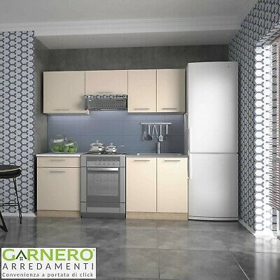Cucina moderna componibile completa beige rovere MATRIX 200 cm lineare design