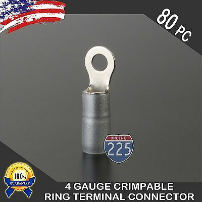 4 Gauge Platinum Ring Terminal AWG Wire Crimp Silver Boots- 5/16 80pc Crimpable Ring Terminals