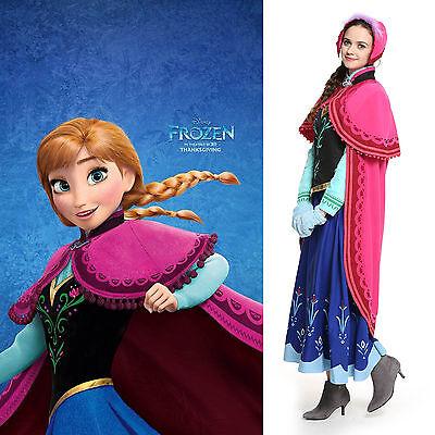 Frozen Snow Queen Princess Anna Phantastisch Gestickte Kleid Cosplay Kostüm