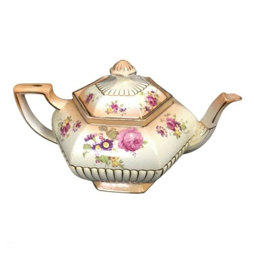 Vintage Victorian Samuel Johnson Burslem Teapot Blush Floral Art Deco Shabby