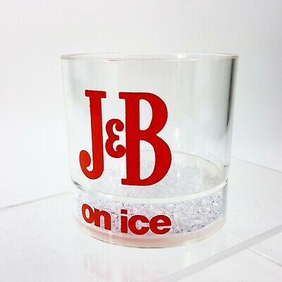 Vintage J&B on Ice Tumbler Acrylic Drinking Glass w/ w/ Faux Ice Crystals USA