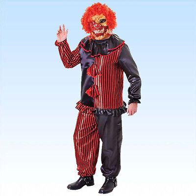 Zombie Clown Gr. 48-52 Horror Kostüm + Maske mit Haaren Clownskostüm f Halloween