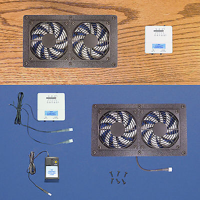 DUAL Megafan AV Cabinet Cooling Fans with adjustable thermostat & 6 speeds for sale  Shipping to India