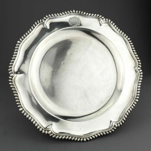 DAVID TANQUERAY George I Antique Solid Sterling Silver Plate. London, 1724. 842g