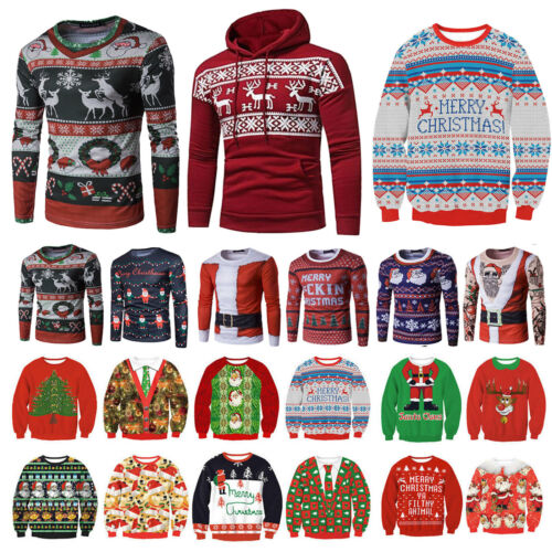 Ugly Christmas Sweater Women Men Xmas Jumper Sweatshirt Hood