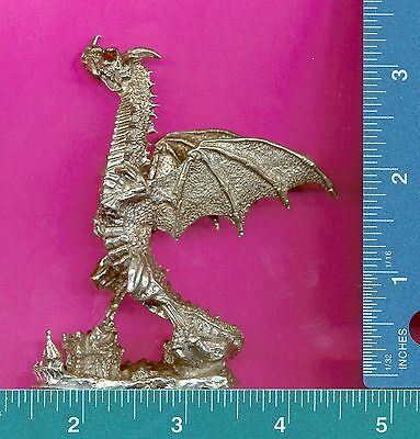 Lead free pewter dragon with red crystal eyes figurine P12507