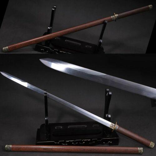 HANDMADE CHINESE JIAN SWORD T1095 Steel ROSEWOOD SAYA Sharp
