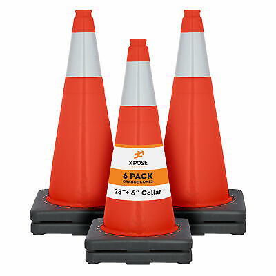 6 Of Orange Traffic Cones 28 Inch With 6 Collar - Pvc Plastic Safety Cones