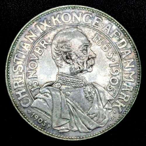 Denmark Silver 1903 P GL  2 Kroner 40th Anniversary of Reign Coin. KM# 802.