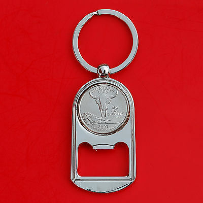 (US 2007 Montana State Quarter BU Unc Coin Key Chain Ring Bottle Opener NEW )