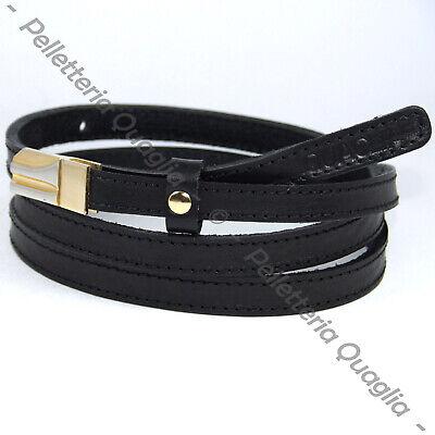 Cintura Donna vera Pelle Nera Cinta in Cuoio Sportiva Sottile di da 1,5 cm p1 IT