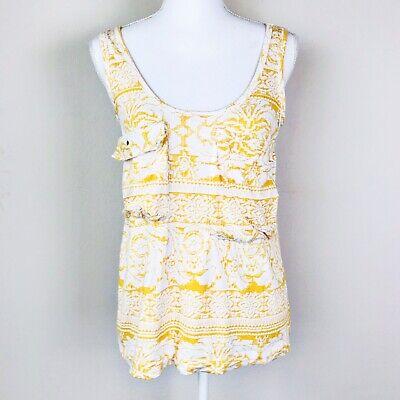 Anthropologie C. Keer Safari Pocket Tank Top Small Yellow White Sleeveless Boho
