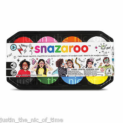 SNAZAROO Paint PALLET 8x 18ml Colours Face & Body Make Up Childrens Fancy Dress