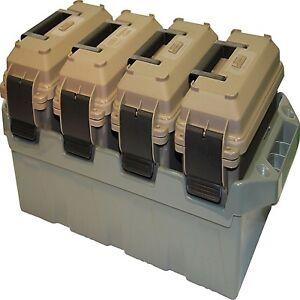 Ammo Crate Storage Box 4 Can Multi-Caliber Bulk Ammunition Utility Stackable
