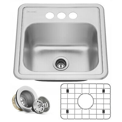 "15""x15"" Stainless Steel Drop-In Top-Mount Topmount Bar Prep Utility Kitchen Sink"